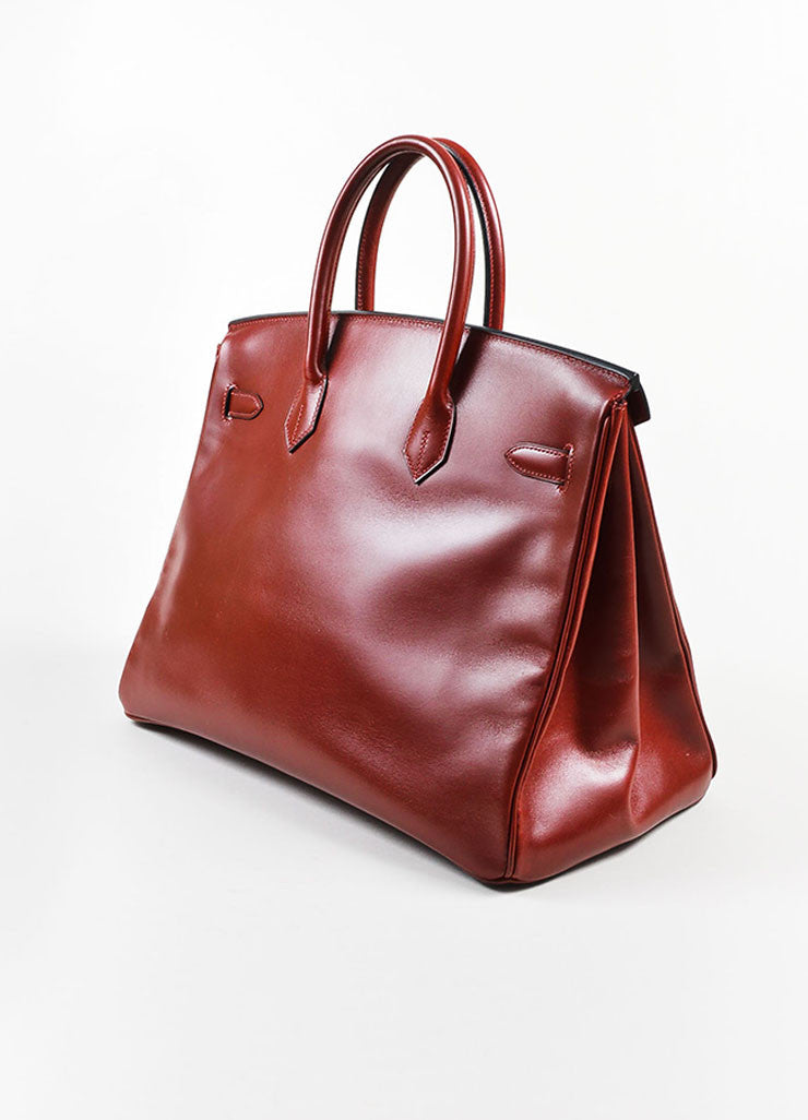 "Hermes Oxblood Red Box Calf Leather 35cm ""Birkin"" Handbag Sideview"