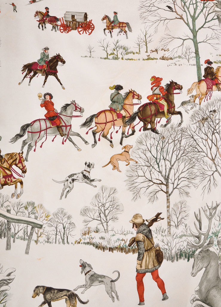 "Hermes Red, Cream, and Multicolor Winter Scene ""L'Hiver"" Silk Scarf Detail 2"