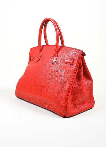 "Red and Gold Toned Hermes Clemence Leather ""Birkin"" 35 cm Handbag Sideview"