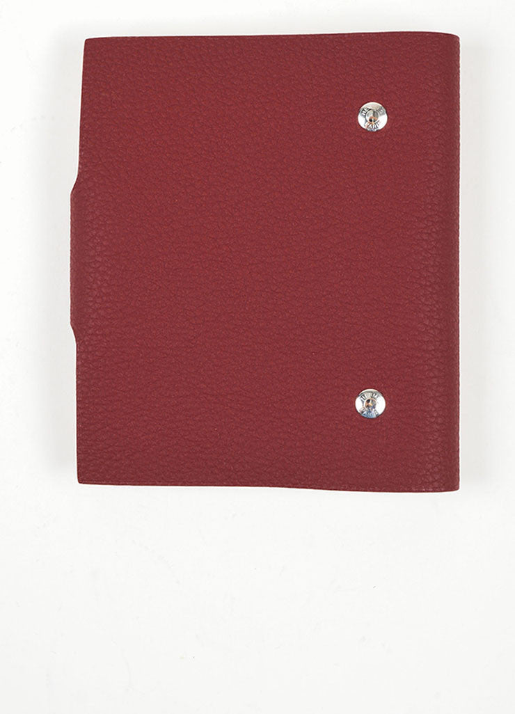"Red Pebbled Leather Hermes ""Ulysse PM"" Agenda Notebook Cover with Paper Refill Backview"