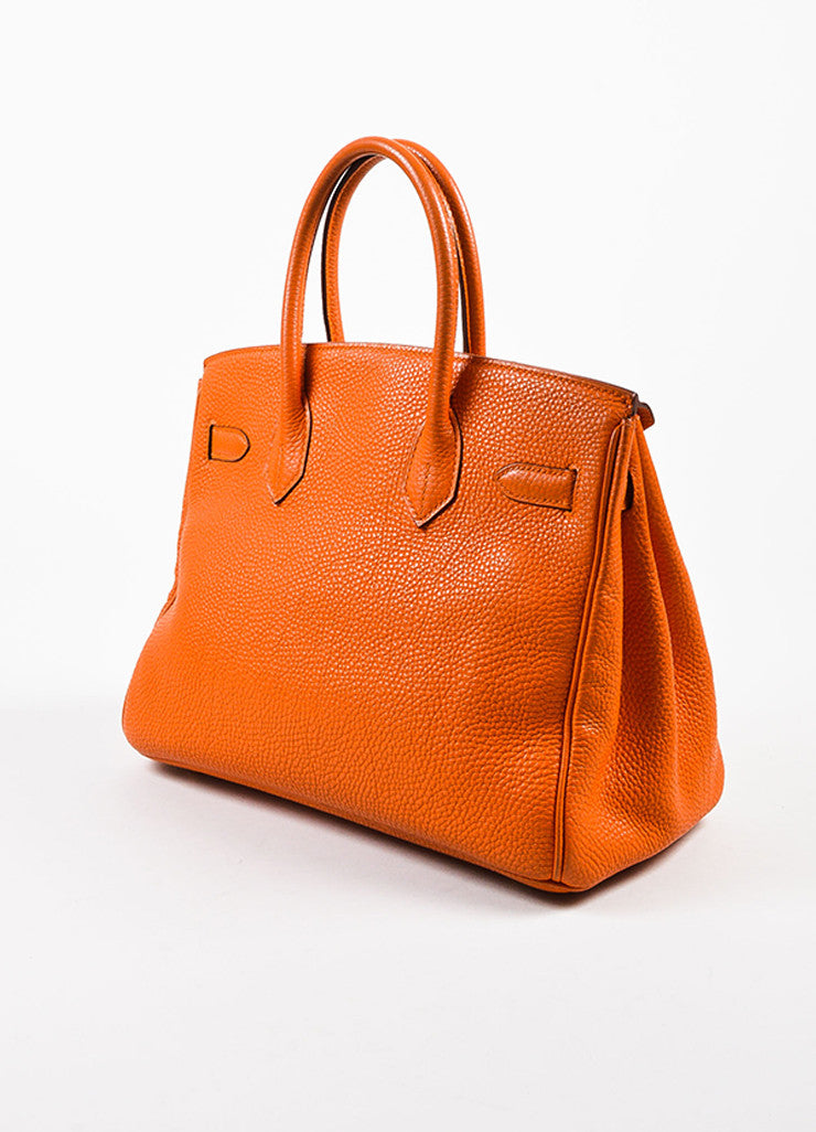 "Hermes Tangerine Orange Clemence Grain Leather Top Handle ""Birkin 30"" Tote Bag Sideview"