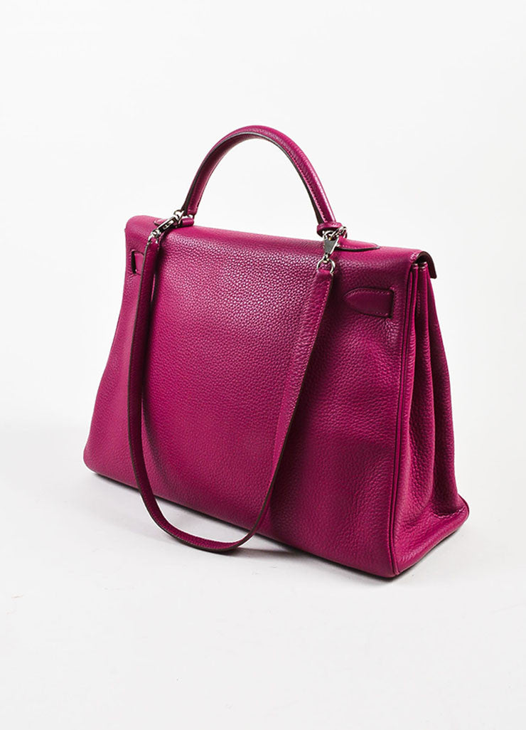 "Hermes 'Tosca' Magenta Pink Clemence Leather 40cm ""Kelly"" Structured Handbag Sideview"