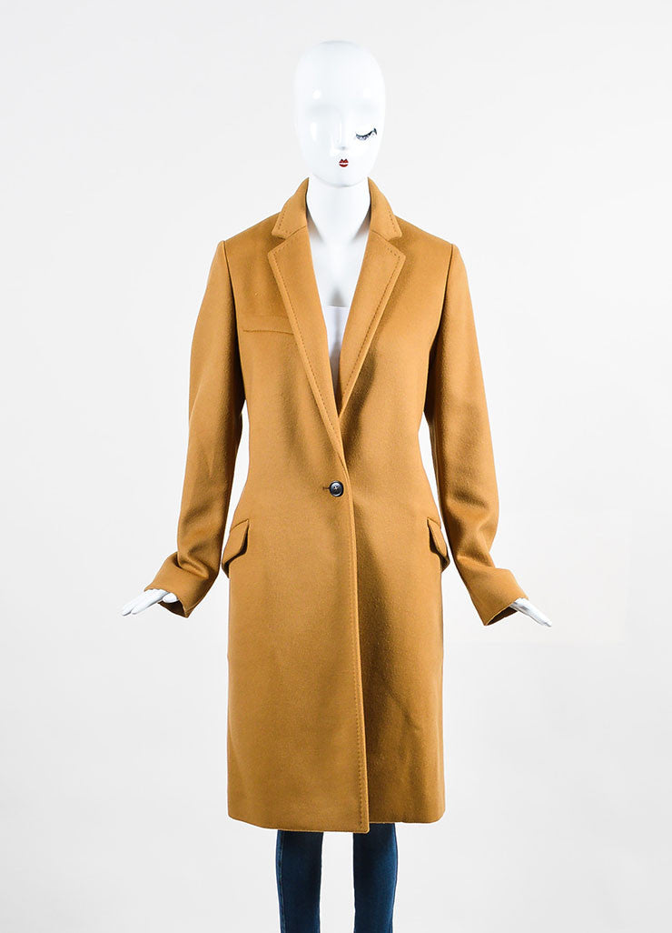 "Camel Tan Isabel Marant Wool and Cashmere ""Carlen Caban"" Coat Frontview 2"