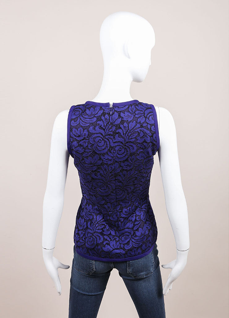 J. Mendel New With Tags Blue and Black Lace Embroidery Sleeveless Peplum Blouse Backview
