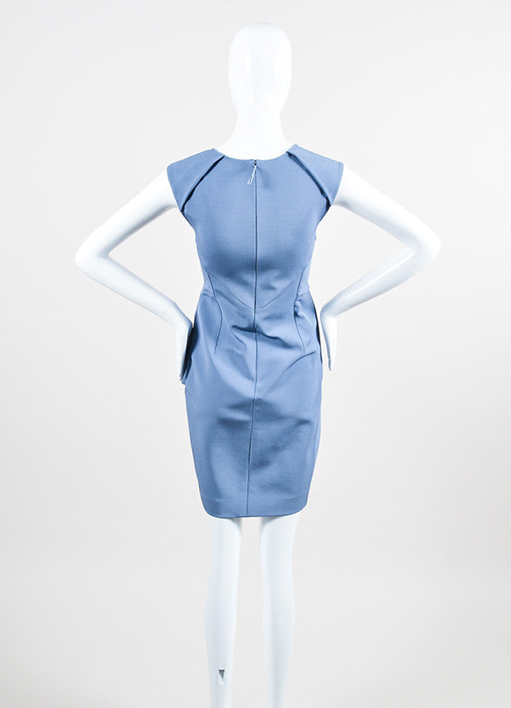 J Mendel Blue Stretch Knit Sleeveless Structured Front Peplum Sheath Dress Backview
