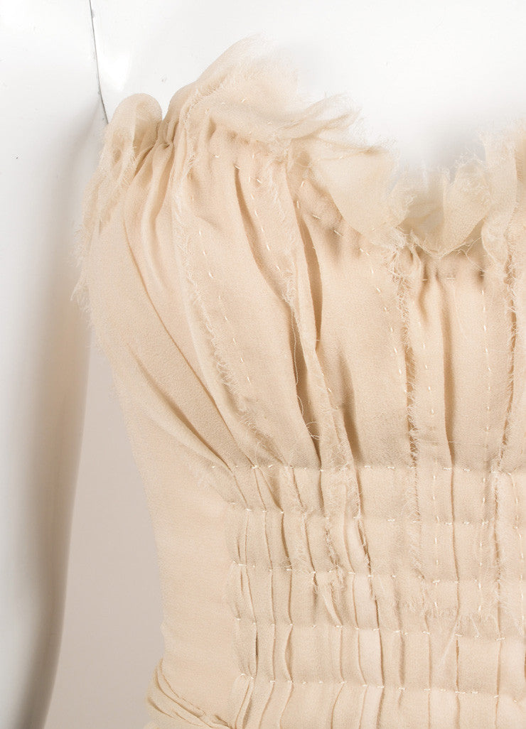 J. Mendel Taupe Chiffon Bustier Top Detail