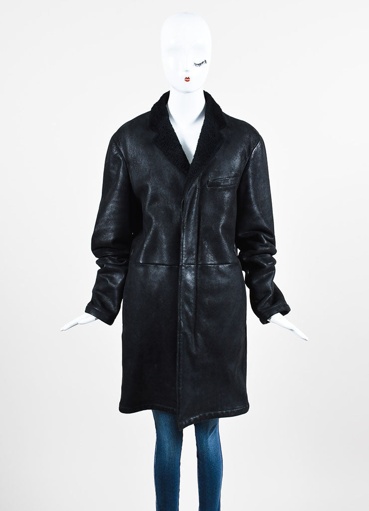 ‰ۢÌöÌÛJil Sander Black Coated Leather Shearling Lined Coat Frontview 2