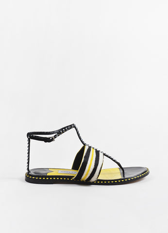 Black and Yellow Jimmy Choo Pony Hair Striped Studded Flat Sandals Side