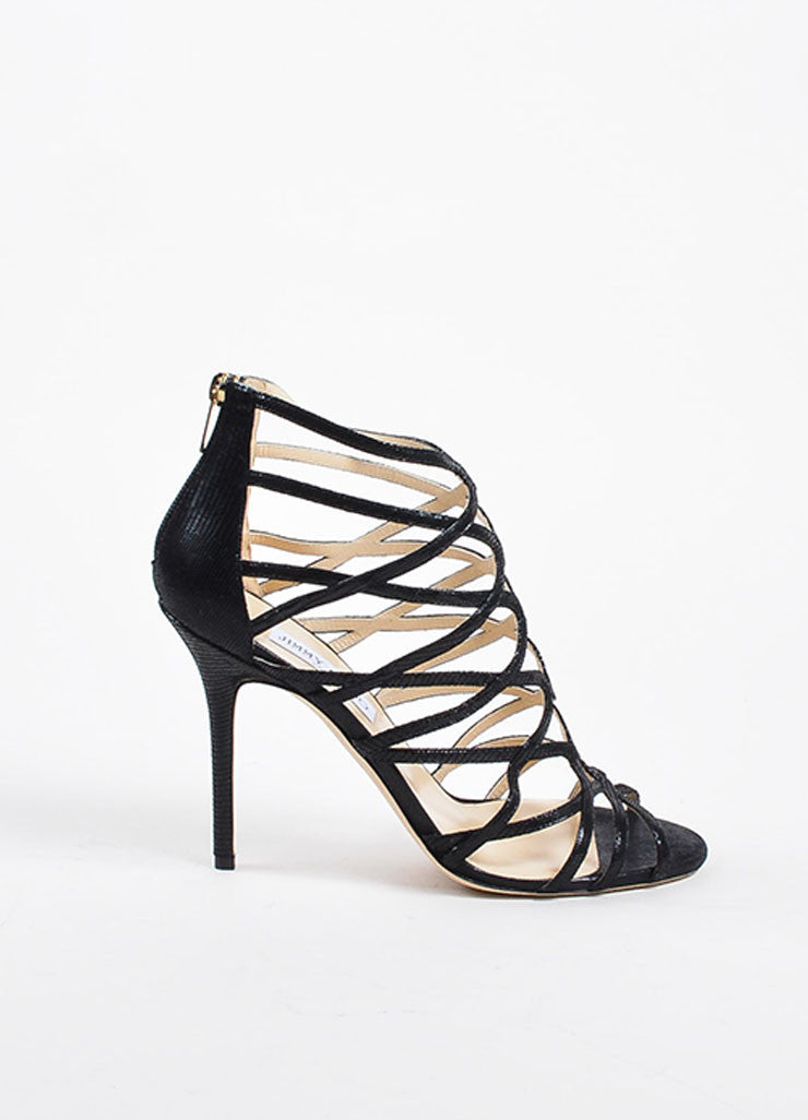 "Jimmy Choo Black Embossed Leather ""Fiesta"" Caged Heeled Sandals Sideview"