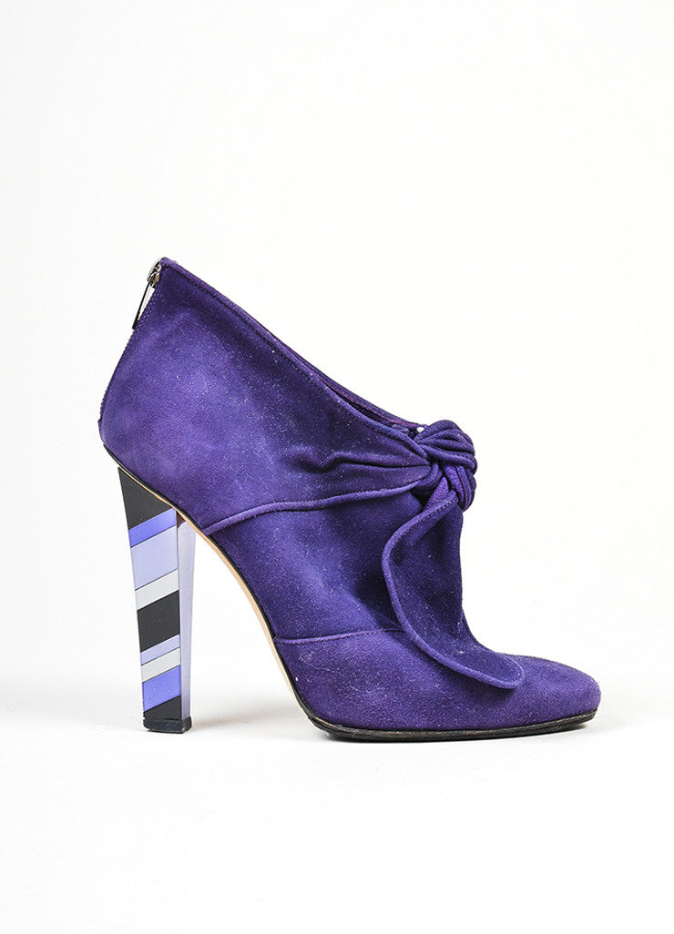 Purple Jimmy Choo Suede Knot Bow Mosaic Mirrored Heel Ankle Booties Sideview