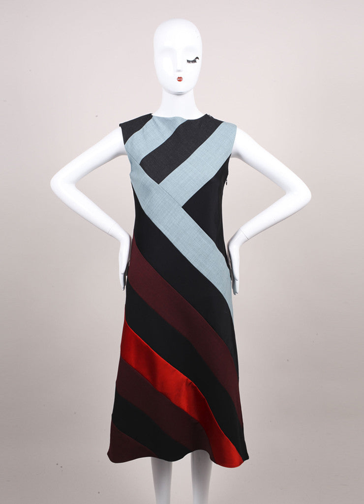 "Jonathan Saunders New With Tags Blue, Grey, and Multicolor Paneled ""Poppy"" Dress Frontview"