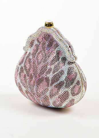 Judith Leiber Pink, Purple, and Clear Crystal Leopard Print Clutch Frame Evening Bag Sideview