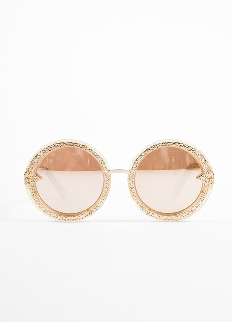 "Karen Walker Gold Glitter Mirrored Lens Round ""Orbit Filigree"" Sunglasses Frontview"