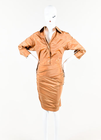 KaufmanFranco Iridescent Copper Silk Taffeta Drape Panel Button Up Bodysuit Frontview
