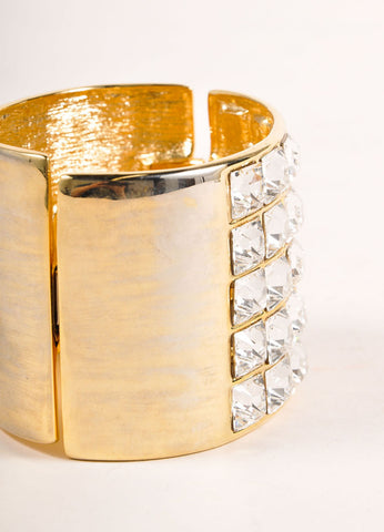 Kenneth Lane Gold Toned Rhinestone Embellished Wide Cuff Bracelet  Detail