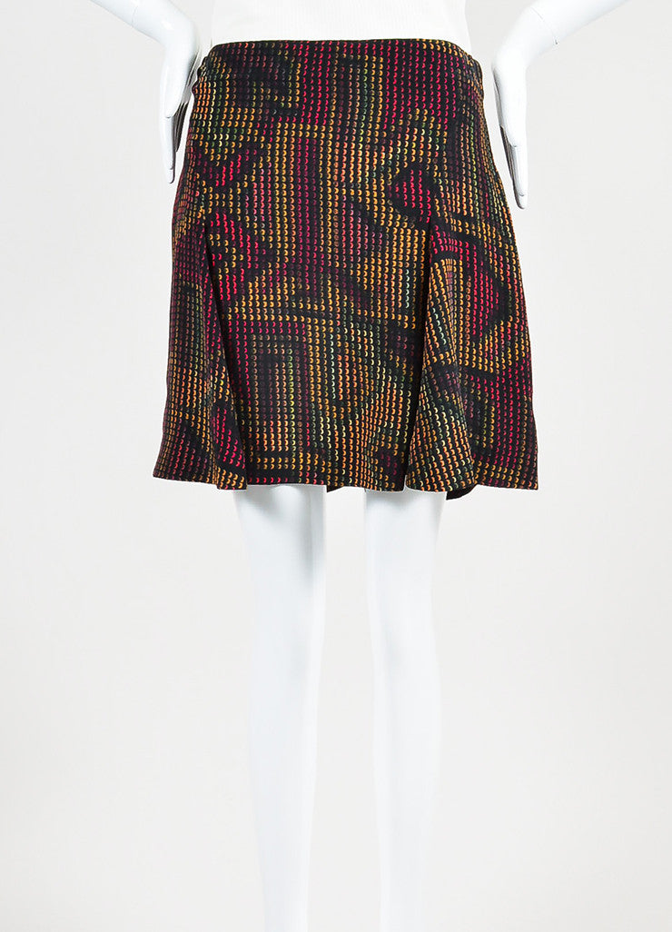 Black and Multicolor Kenzo Silk Rune Print Flare Skirt Frontview