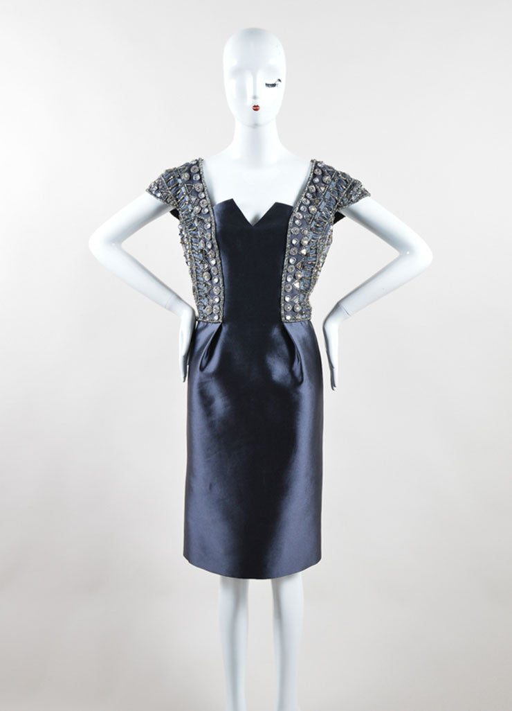 Kevan Hall Grey Satin Taffeta Beaded Embellished Sleeveless Cocktail Dress Frontview