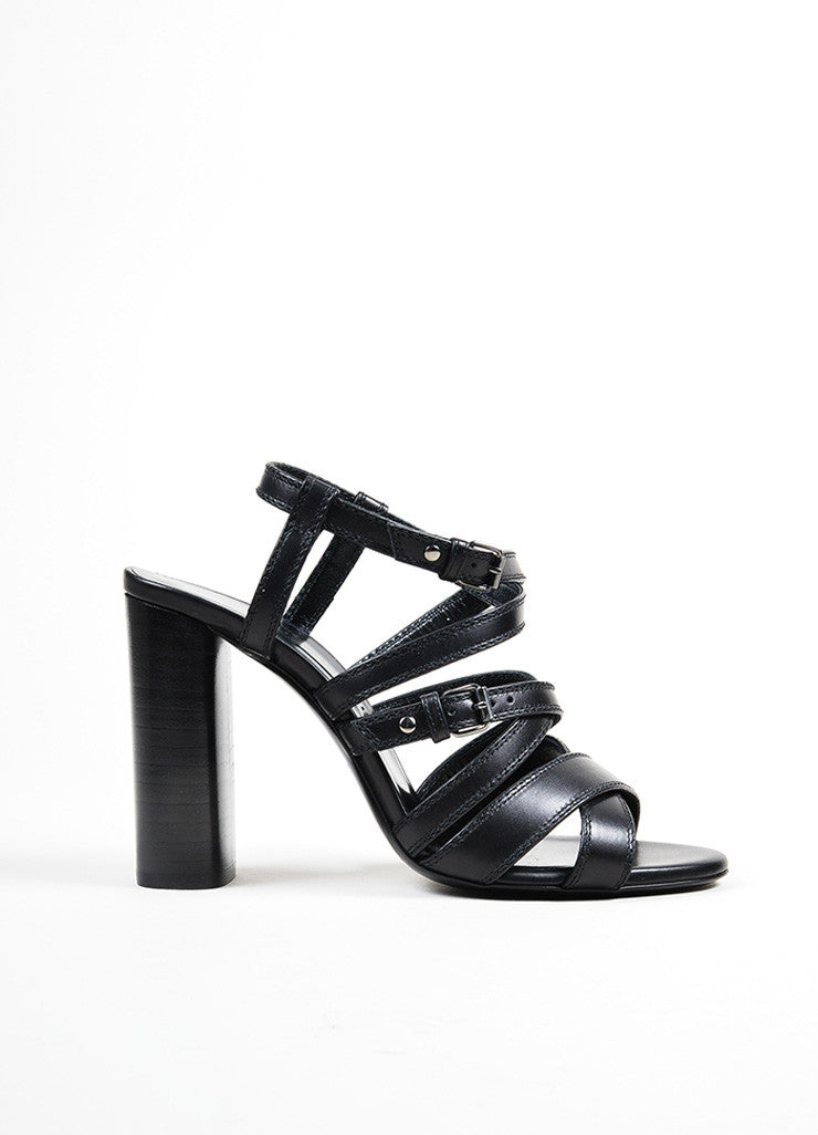 Black Lanvin Leather Strappy Buckle Stacked Heel Sandals Sideview