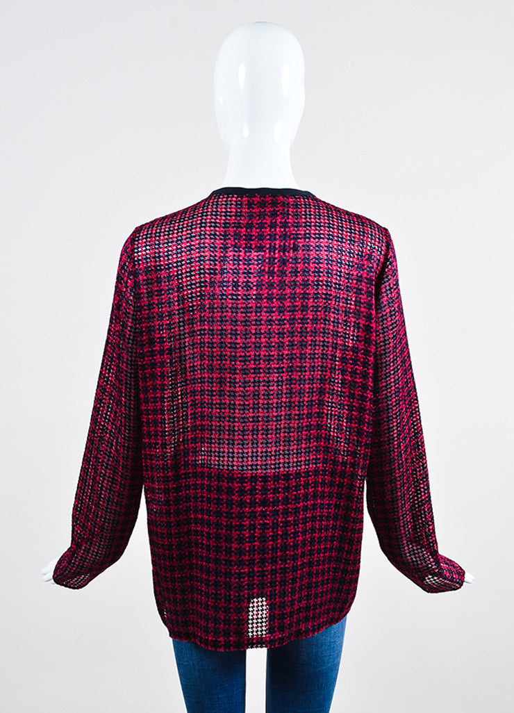 Red and Navy Lanvin Silk Grosgrain Ribbon Houndstooth Long Sleeve Sheer Top Backview