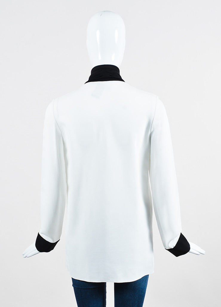 White and Black Trim Lanvin Oversized Neck Tie Long Sleeve Blouse Backview