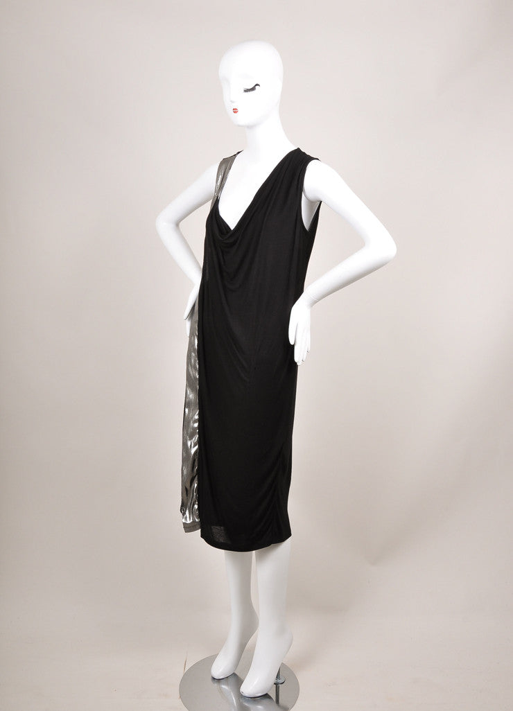 Lanvin New With Tags Black and Silver Metallic Trim Sleeveless Knit Jersey Dress Sideview