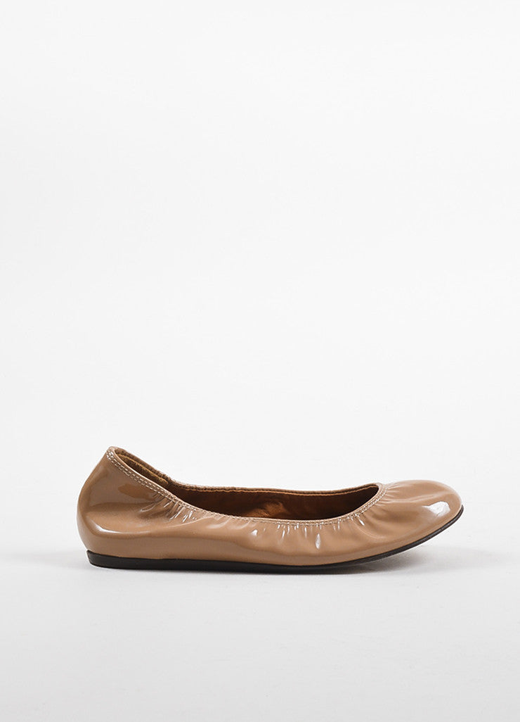 Lanvin Nude Patent Leather Elastic Ballerina Flats Sideview