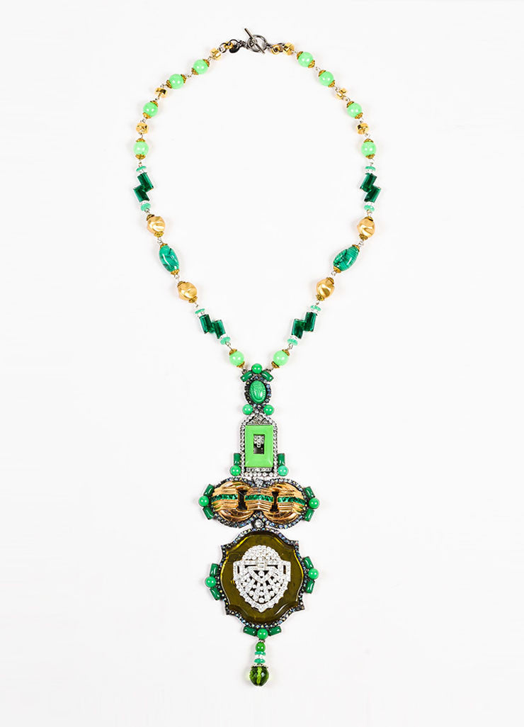 Lawrence Vrba Green and Gold Toned Stone Beaded Crystal Art Deco Pendant Necklace Frontview