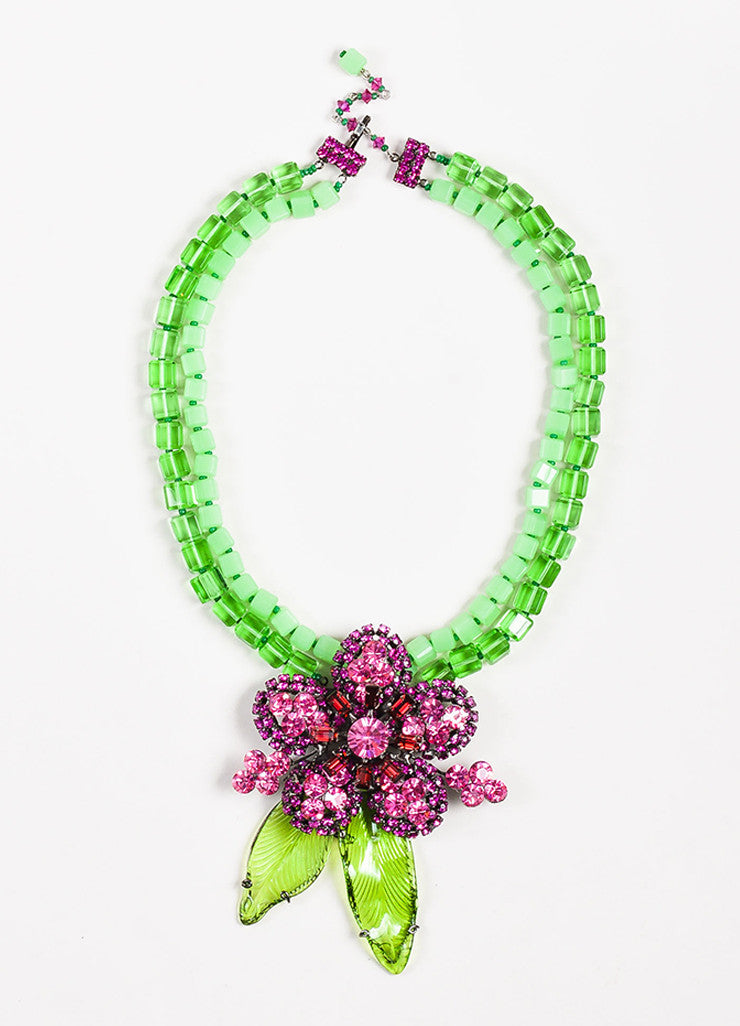 Lawrence VRBA Green and Pink Beaded Crystal Flower Pendant Necklace Earrings Set Necklace
