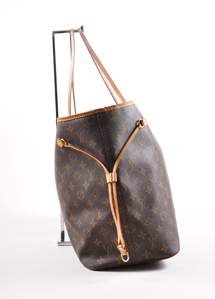 "Louis Vuitton Brown Monogram Canvas ""Neverfull GM"" Shoulder Tote Bag Sideview"