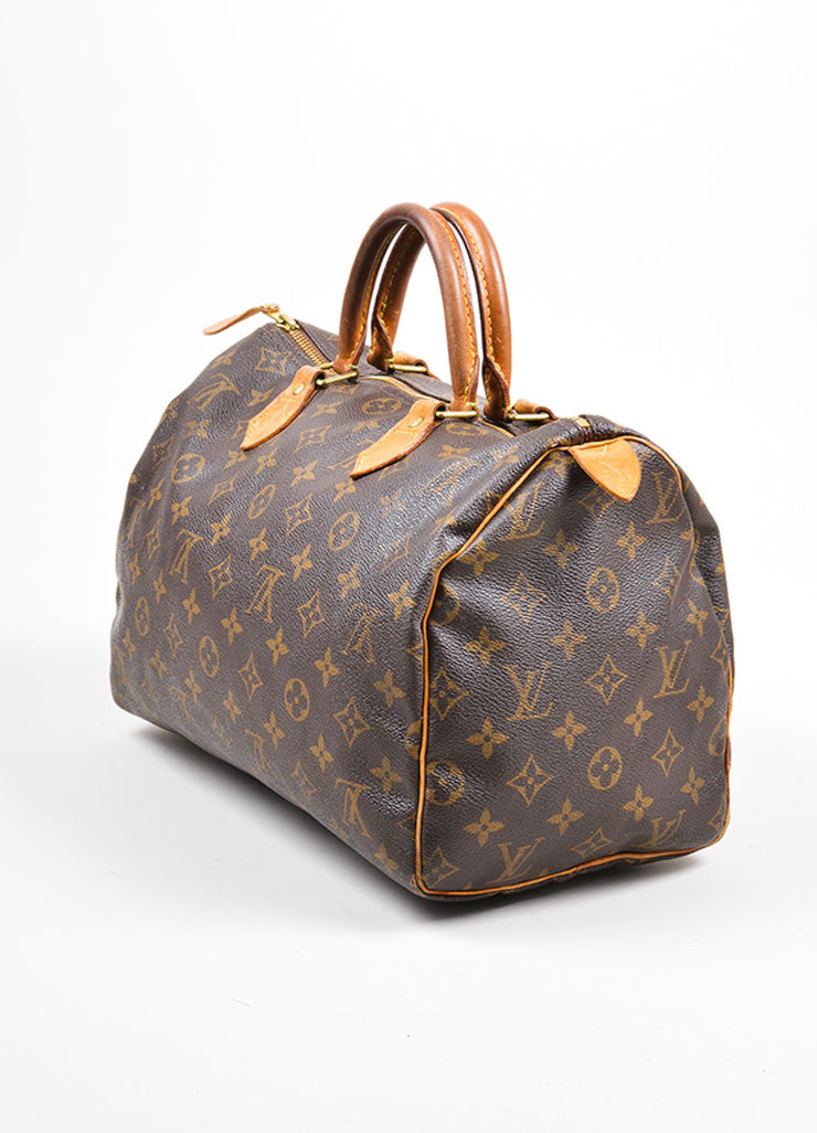 "Brown Louis Vuitton Monogram Canvas ""Speedy 30"" Handbag Sideview"