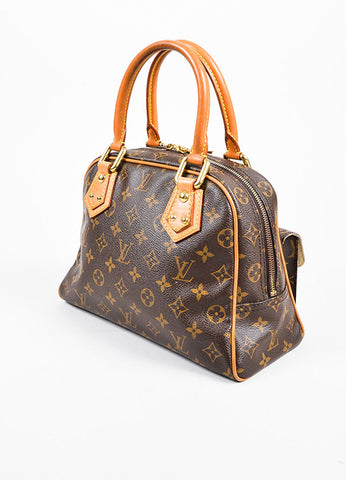 "äó¢íšíóLouis Vuitton Brown and Tan Coated Canvas Monogram ""Manhattan PM"" Satchel Bag Sideview"