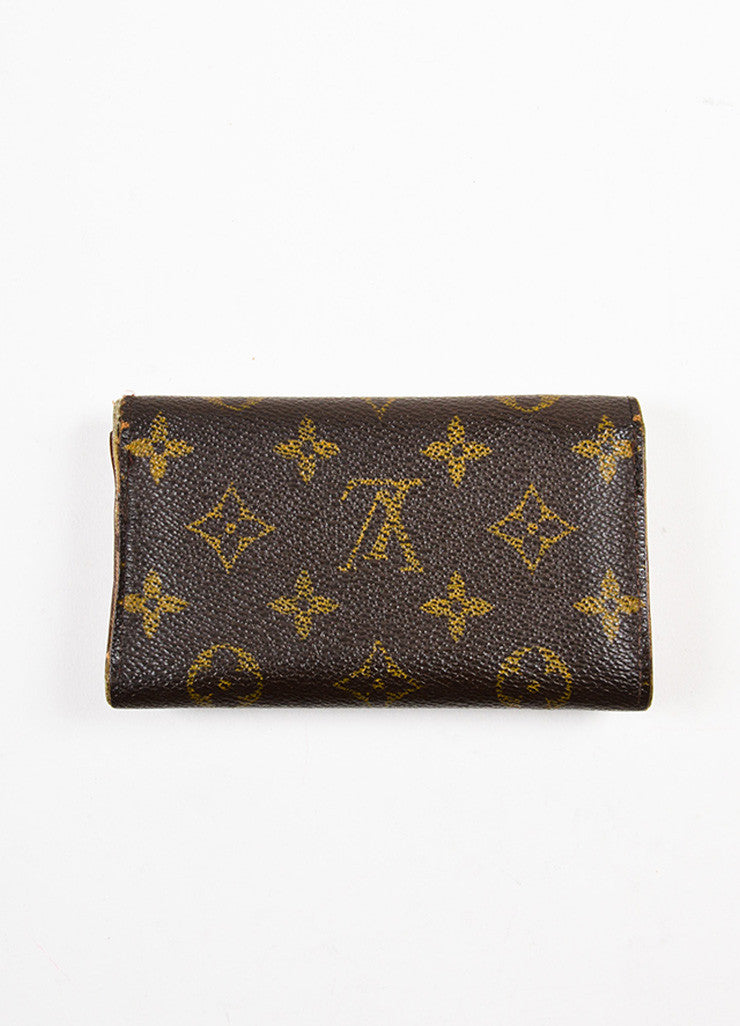 "Louis Vuitton Brown and Tan Coated Canvas Monogram ""Porte-Monnaie Tresor"" Wallet Backview"