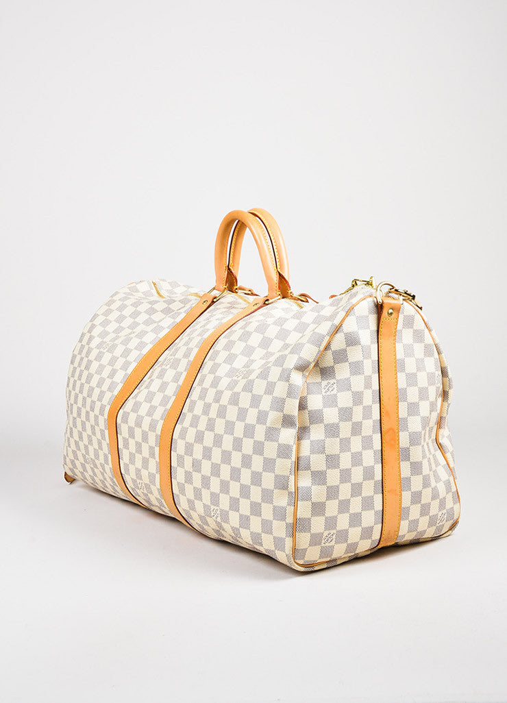 "Louis Vuitton Cream Navy Damier Canvas ""Keepall Bandouliere 55"" Bag Back"