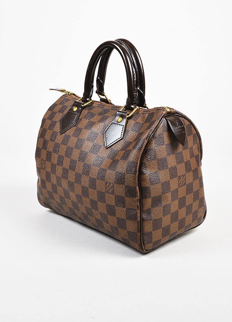 "Louis Vuitton Damier Ebene Brown Coated Canvas Leather Checkered ""Speedy 25"" Bag Sideview"