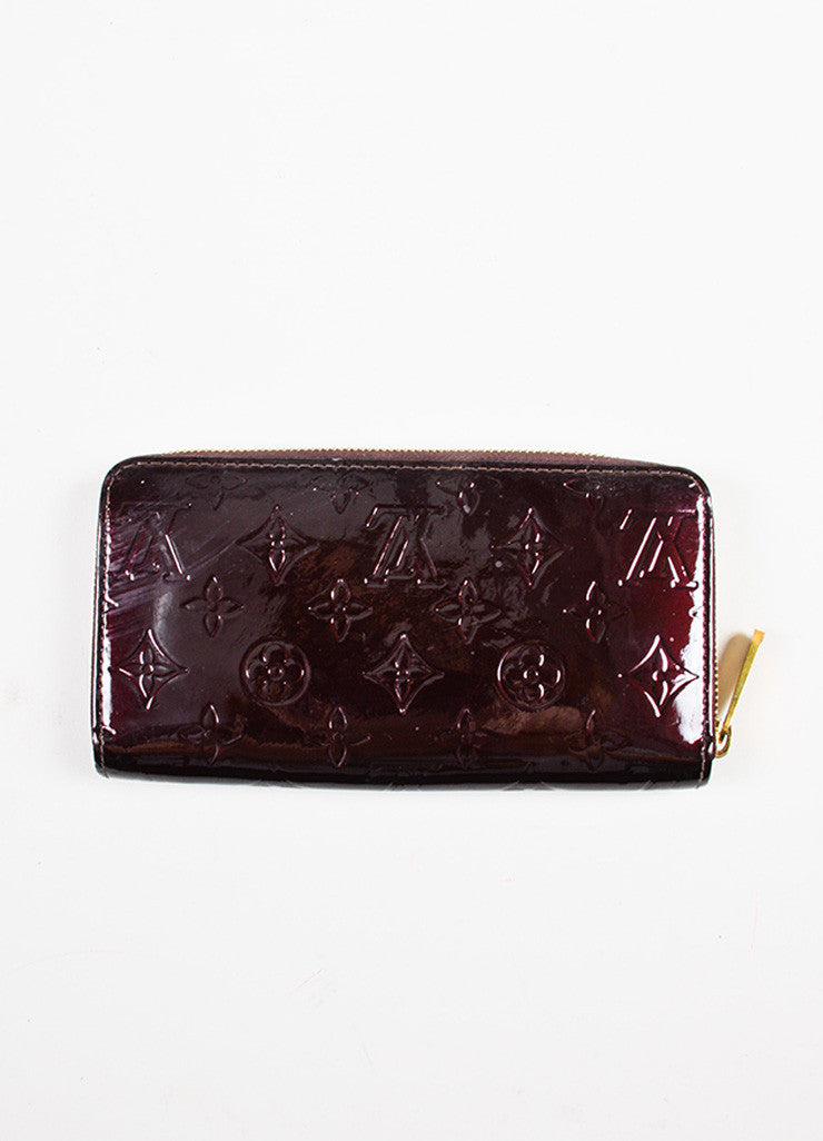 "Louis Vuitton Eggplant ""Amarante"" Patent Leather Monogram ""Vernis Zippy"" Wallet Backview"