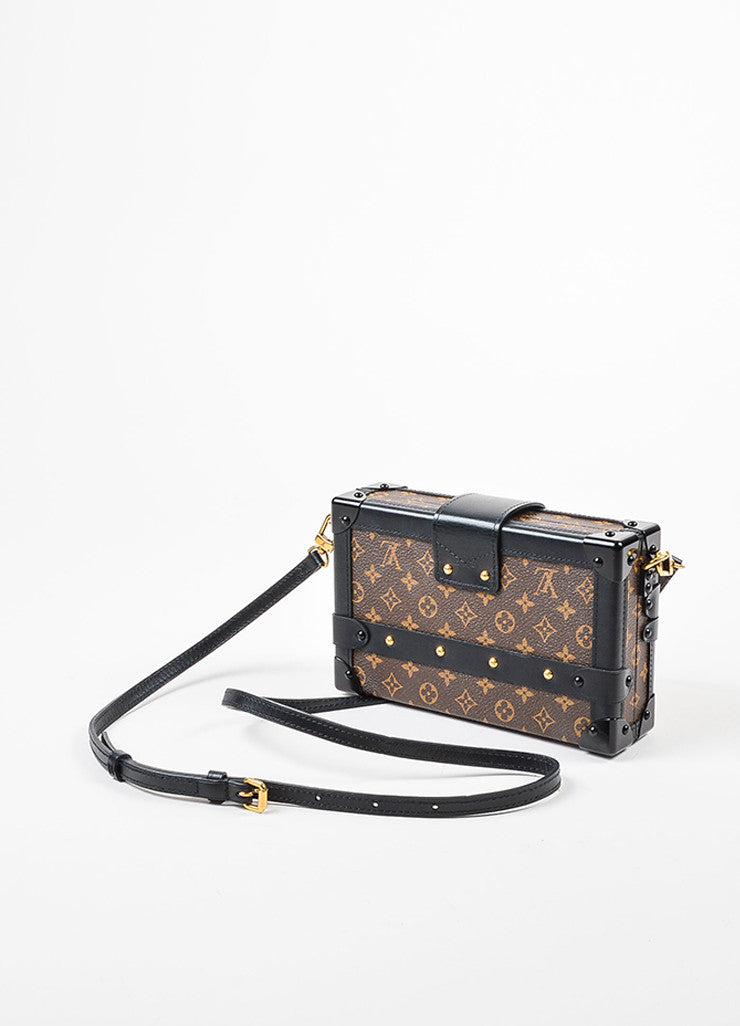 "Louis Vuitton Limited Edition Brown and Black Canvas ""Petite Malle"" Mini Trunk Bag Sideview"