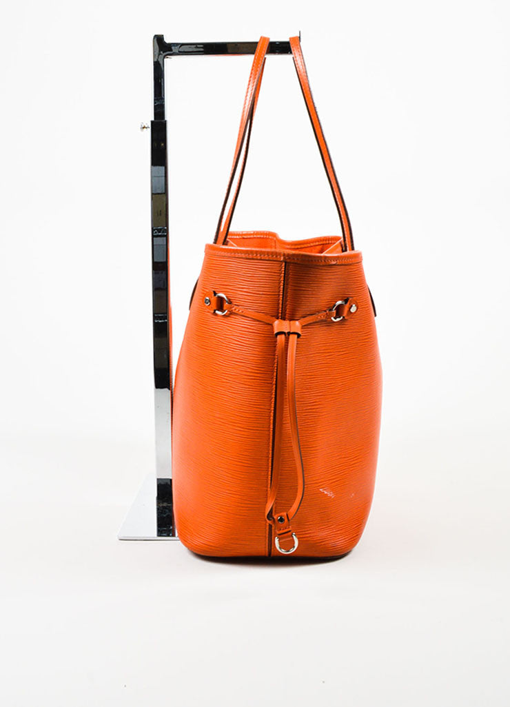 "Louis Vuitton Orange Epi Leather ""Neverfull MM"" Tote Bag Sideview"