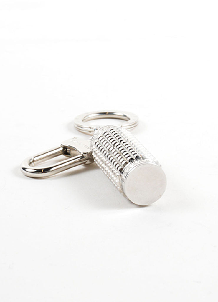 "Louis Vuitton Silver Toned ""LV"" Textured Tube Key Ring Clip Keychain Sideview"