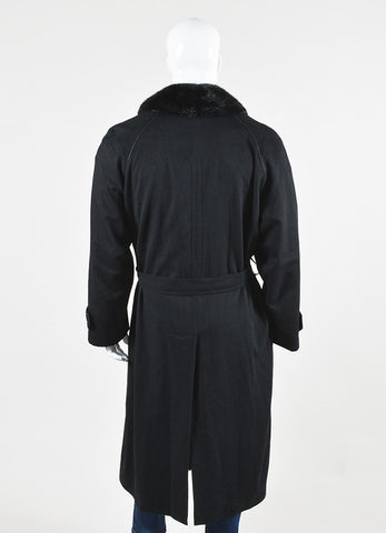 Men's Brioni Black Cashmere Removable Fur Collar Coat Backview