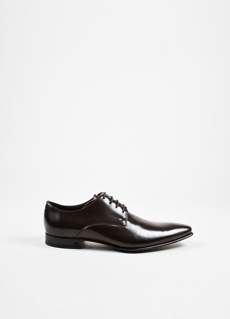 Men's Brown Dsquared2 Leather Laced Derby Oxford Shoes Side