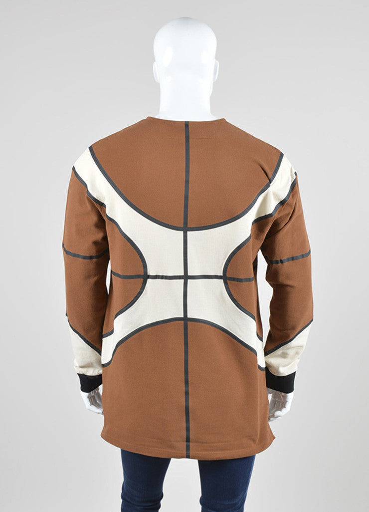 Men's Givenchy Brown and Cream Cotton Waffle Textured Basketball Long Sleeve Top Backview