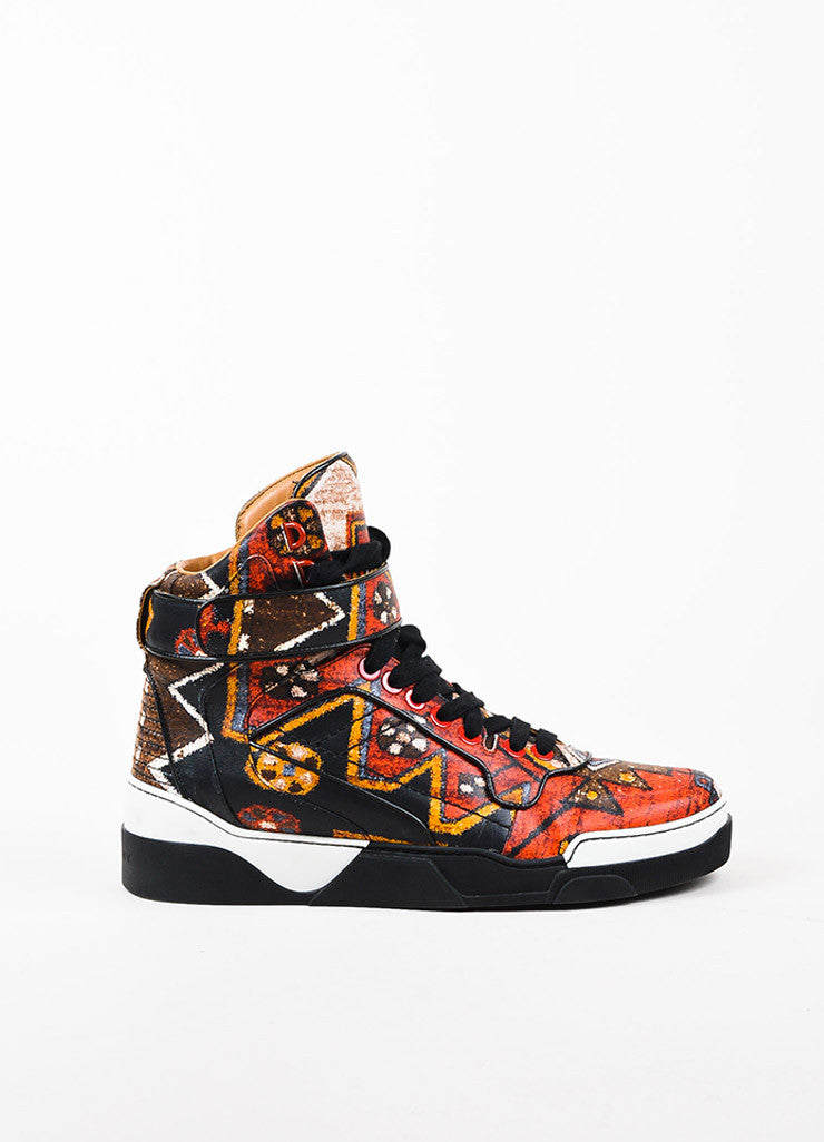 "Men's Givenchy Red and Black Leather Graphic Print High Top ""Tyson"" Sneakers Sideview"
