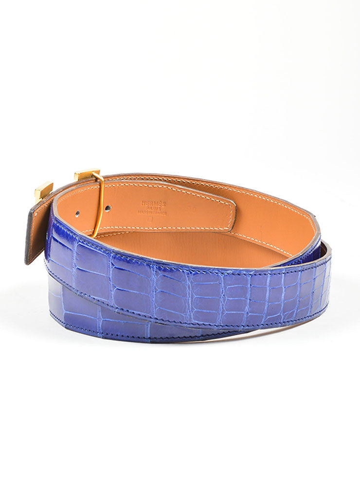 "Men's Gold Toned 'H' Prong Buckle and Blue Alligator Hermes ""Constance"" Belt Sideview"