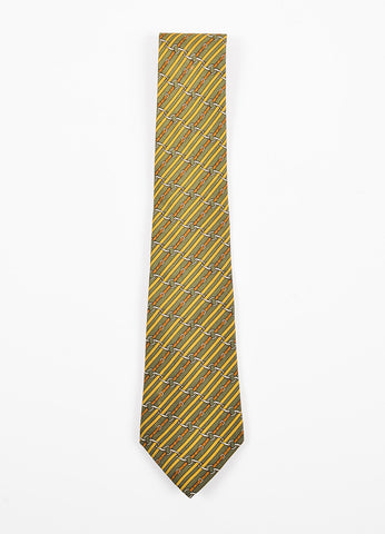 Men's Hermes Green Yellow Brown Silk Diagonal Stripe Belt Print Tie Front 2