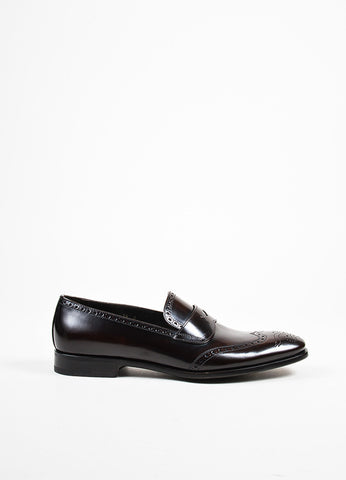 Men's Dark Brown Prada Leather Brogue Loafers Side
