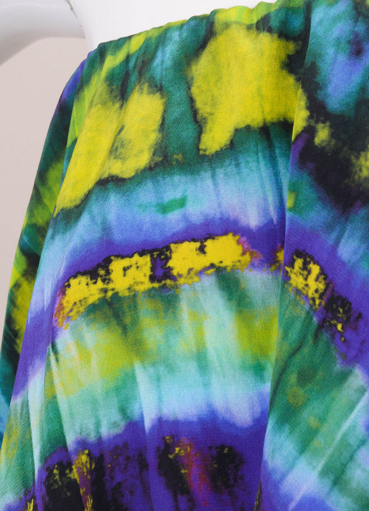MSGM New With Tags Purple and Yellow Silk Graphic Print Ruffle Strapless Dress Detail