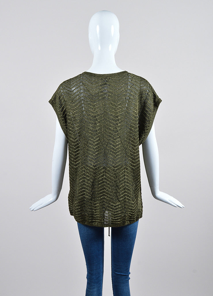 Olive Green and Metallic Gold Lurex M Missoni Zig Zag Drawstring Top Backview