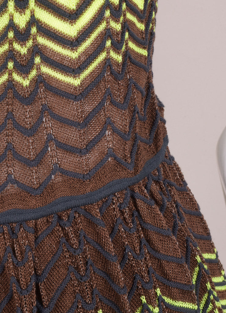 M Missoni New With Tags Green, Yellow, and Brown Knit Woven Chevron Print Mesh Dress Detail