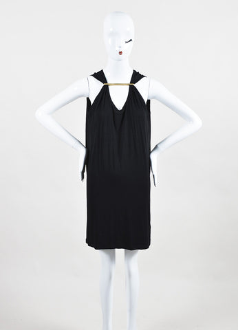 Maison Martin Margiela Black Sleeveless Gold Toned Bar Gathered Shift Dress Frontview