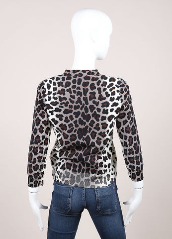 Marc Jacobs Brown, Grey, and Cream Leopard Print Button Knit Cardigan Backview